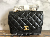 Original Chanel Lambskin Black Small Shoulder Bag 22cm