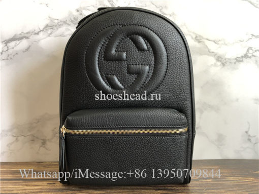 Original Quality Gucci Pebbled Calfskin Soho Chain Backpack Black