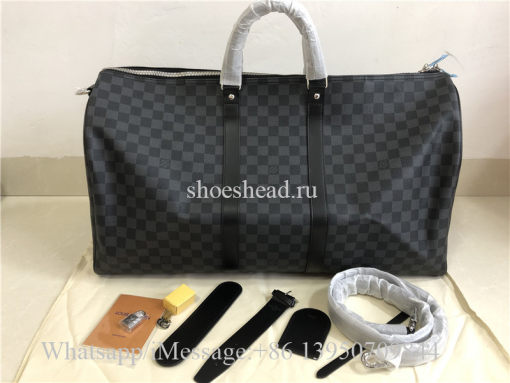 Original Quality Louis Vuitton Black Damier Leather Duffle Travel Bag