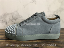 Christian Louboutin Spike Flat Low Top Sneaker Grey Suede