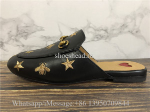 Gucci Princetown Bee & Star Embroidered Leather Slipper Loafer