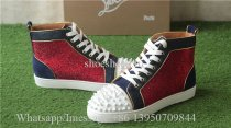 Christian Louboutin Flat Spike High Top Sneaker Studs Red Blue White