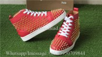 Christian Louboutin Flat Spike High Top Sneaker Red Golden Studs