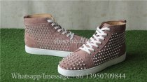 Christian Louboutin Spike Flat High Top Sneaker Rusty Pink