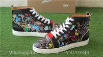 Christian Louboutin Flat Spike High Top Sneaker Black Graffiti Print