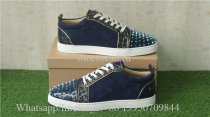 Christian Louboutin Spike Flat Low Top Sneaker Glitt Blue