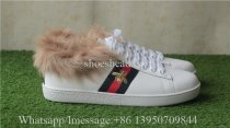 Gucci Aced Embroidered White Bee Fur-Lined Sneakers