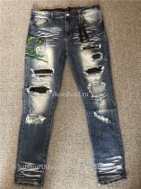 Amiri Stamped Leather Detailed Slim Jeans