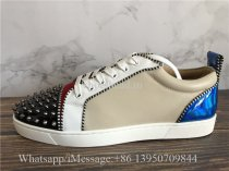 Christian Louboutin Louis Junior Spikes Flat Low-Top Sneakers Black Blue Apricot