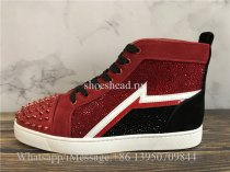 Christian Louboutin Red Louis Rhinestones High Top Sneaker