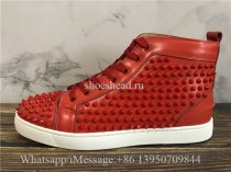 Christian Louboutin Louis Spike Flat High Top Sneaker Red