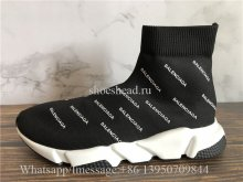 Balenciaga Allover Logo Speed Trainer Black