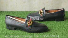 Gucci Leather loafer with GG Logo Black