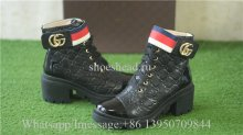 Gucci Leather Ankle Combat GG Pattern Boot