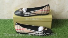Burberry 18FW Flat Fashion Plaid Cloth Women Shoes