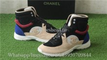 Chanel Calfskin & Suede High Top Sneaker Blue Black Yellow