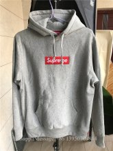 Supreme Grey Hoodie With Red Box Logo