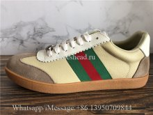 Gucci G74 Leather Sneaker With Web In Butter Leather