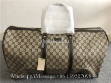 Gucci GG Monogram Brown Canvas Duffle Rolling Luggage Travel Bag