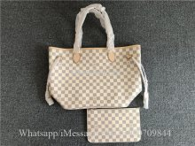 Original Louis Vuitton Damier Azur Bag Neo Neverfull GM Rose Ballerine