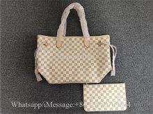 Original Louis Vuitton Damier Azur Bag Neo Neverfull GM Cream Ballerine
