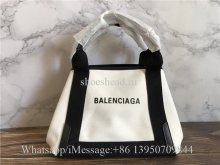 Original Balenciaga Cabas Small Leather-Trimmed Canvas Tote Bag