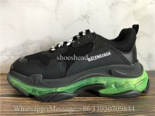 Balenciaga Triple S Black Trainer Green Clear Sole