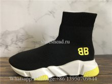 Balenciaga Stretch BB Logo Speed Trainer Black Yellow