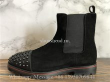 Christian Louboutin Spike High Boots Black Suede