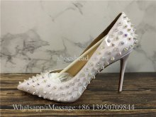 Christian Louboutin Follies Spikes 100 Patent Heels Pump Shoes White Pearl