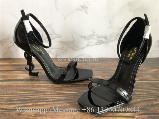 YSL Saint Laurent Patent Opyum 110 Sandals Black Heels