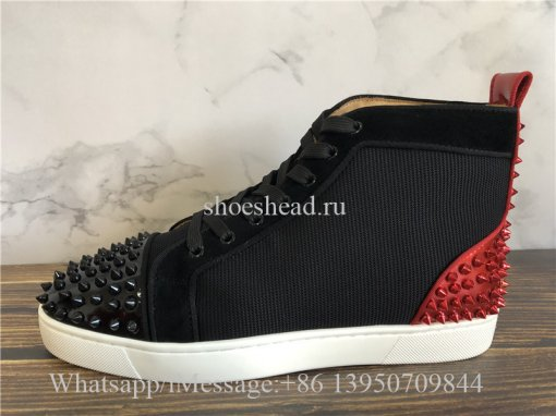 Christian Louboutin Spike Flat High Top Sneaker Black Red Studs