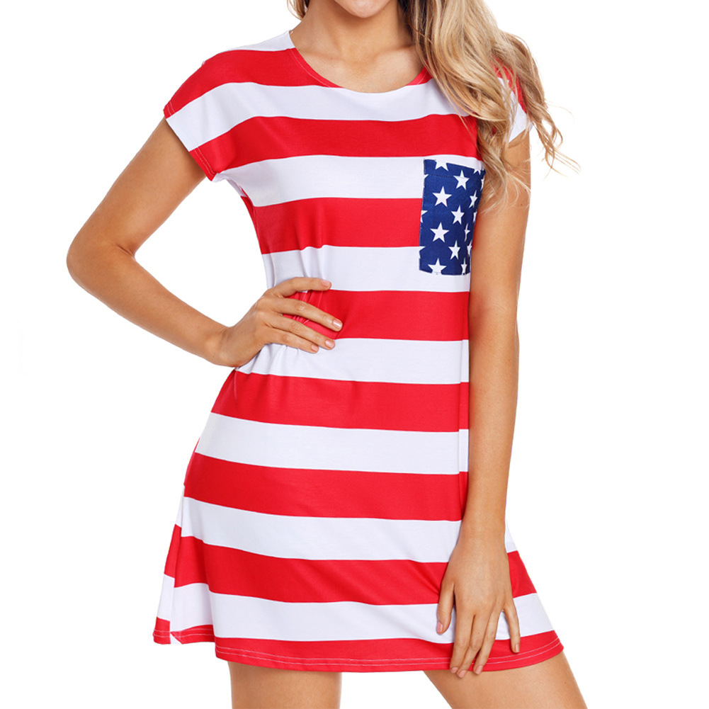 American Flag Red Patriotic Short Sleeve Casual A Line Dress