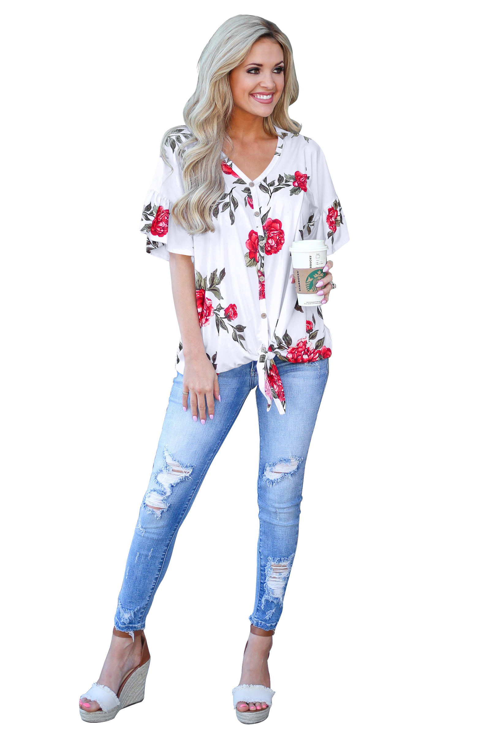 a498b84c861aff US$ 17.99 - Womens Short Sleeve V Neck Button Down Shirts Tie Front Knot  Henley Tops Loose Blouses - www.ladiesstar.com
