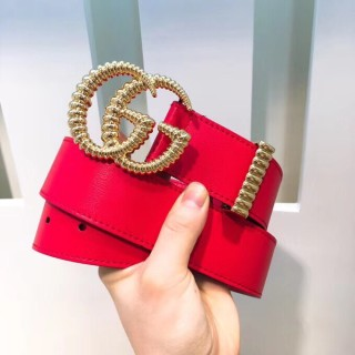 Gucciss Leather Belt With Torchon Double G Buckle Red 3.8CM