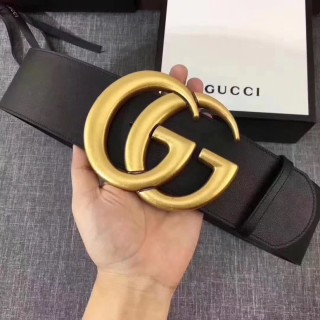 W7.0 Cm Wide Leather Belt With Double G Women Belts