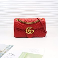 Red Leather GG Marmont Medium Matelassé Shoulder Bag 443496