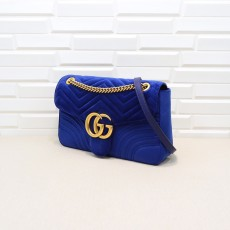 Navy Velvet GG Marmont Medium Matelassé Shoulder Bag 443496