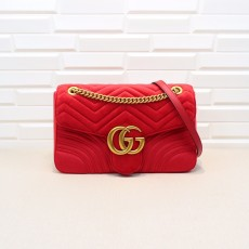 Red Velvet GG Marmont Medium Matelassé Shoulder Bag 443496