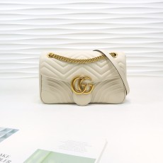 White Leather GG Marmont Medium Matelassé Shoulder Bag 443496