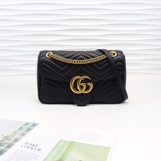 Black Leather GG Marmont Medium Matelassé Shoulder Bag 443496