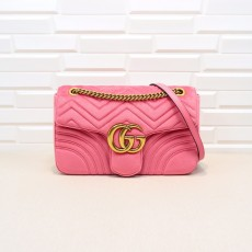 Pink Velvet GG Marmont Medium Matelassé Shoulder Bag 443496