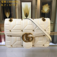 Stud White Leather GG Marmont Medium Matelassé Shoulder Bag 443496