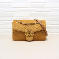 Brown Velvet GG Marmont Medium Matelassé Shoulder Bag 443496