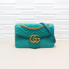 Light Blue Velvet GG Marmont Medium Matelassé Shoulder Bag 443496