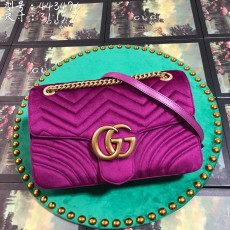 Purple Velvet GG Marmont Medium Matelassé Shoulder Bag 443496