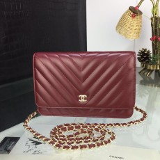 Chanelss Lambskin leather Woc Shoulder Bag 33814 Maroon & Gold