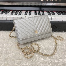 Chanelss Caviar leather Woc Shoulder Bag 33814 Silver & Gold