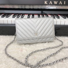 Chanelss Caviar leather Woc Shoulder Bag 33814 Silver & Silver