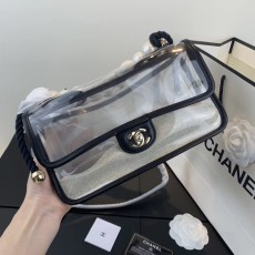 New Chanelss Pearl Quicksand PVC Clear Flap Shoulder Bag AS0520 Black